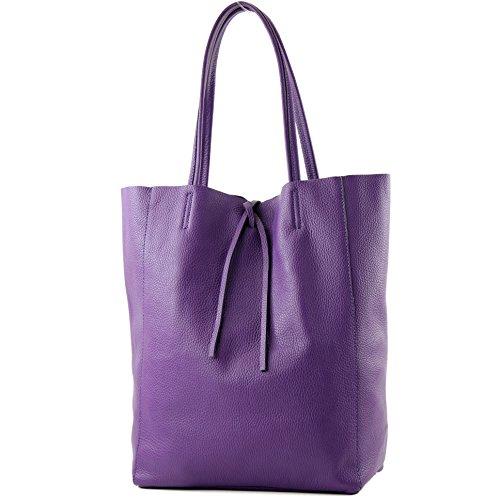 modamoda de - T163 - Ital. Shopper Schultertasche aus Leder, Farbe:Lila - Lila Shopper