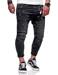 8574a4715ec2 Rello   Reese Herren Jeans Nieten Jeanshose Schwarz Hose Slim Fit  Röhrenjeans ...