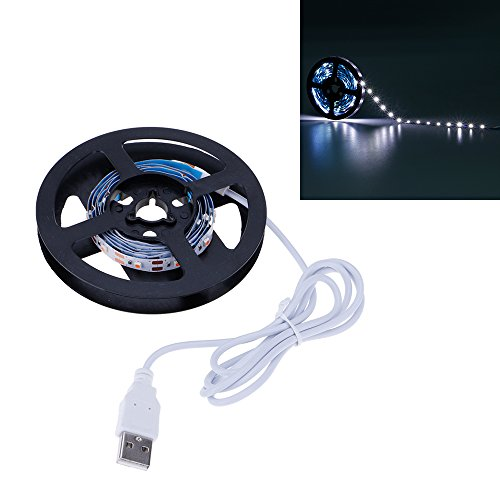 HuntGold Flexibler LED-Streifen 3528SMD, USB-betrieben, 5 V LED, TV-Hintergrundbeleuchtung, Heimkino, Zimmer, Laden, PC/Laptop Hintergrundbeleuchtung, weiß, 1 m