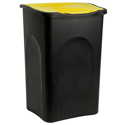 Stefanplast Mülleimer 50L Klappdeckel schwarz/gelb - Abfalleimer Abfallbehälter Müllbehälter Papierkorb Abfallsammler made in Italy