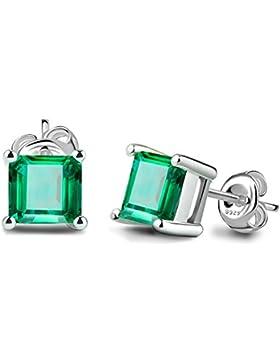 Jewelrypalace 0.86ct Taube Blut Rot Prinzess Neu Platz Synthetisch Rubin Saphir Smaragd Ohrstecker Ohrring Damen...