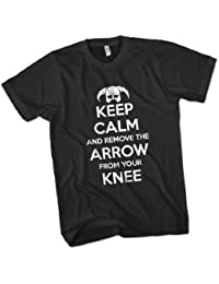 Keep Calm and Remove the Arrow From Your Knee Mens Premium T-Shirt Choice of 15 Colours Small to 3XL