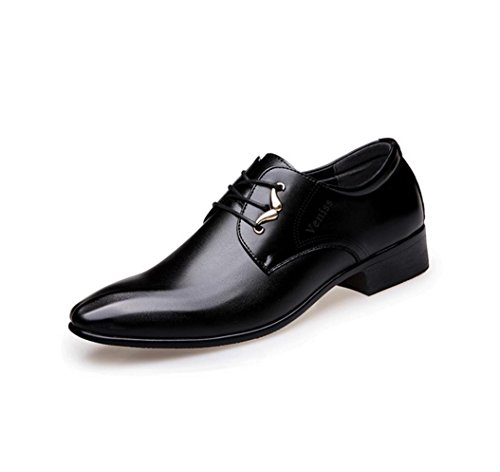 HYLM I pattini di vestito da affari delle nuove scarpe da uomo hanno puntato i pattini di cerimonia nuziale dell'Inghilterra respirabile del cuoio genuino del merletto Black