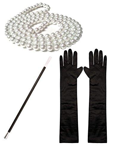 1920 Kostüm Mädchen - 1920s Kostüm Charleston-mädchen Perlen Perlen Zigarettenspitze Lang Schwarzer Satin Handschuhe Set (Manchester Kostüm)