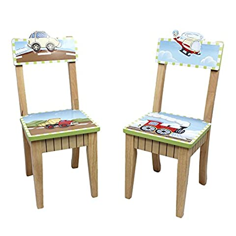 Fantasy Fields - Transportation themed Kids Wooden 2 Chairs Set