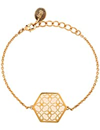 Skalli - Bracelet chaîne - Laiton - L'Andalouse - 15 cm à 16 cm à 16 cm - LA15VD Off white