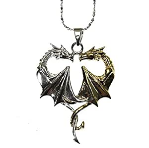 Anne Stokes Mythical Companions - Dragon Heart for Lasting Love - Fantasy Pendant Necklace in Sterling Silver with Crystal and Gold Adornments