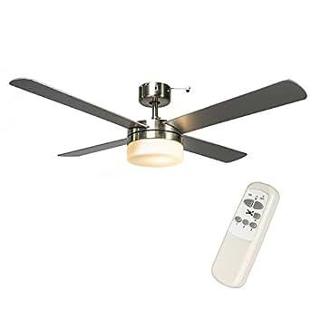 Qazqa moderne ventilateur de plafond avec telecommande et for Eclairage telecommande interieur