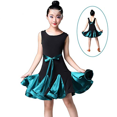 Teen M&m Kostüm Grün Tutu - Magogo Mädchen Latin Dance Kleid, Kinder Rumba Samba Kostüm ärmellose Performance Rock Karneval Party Dancewear (M=120cm/Alter 6-7, Grün)