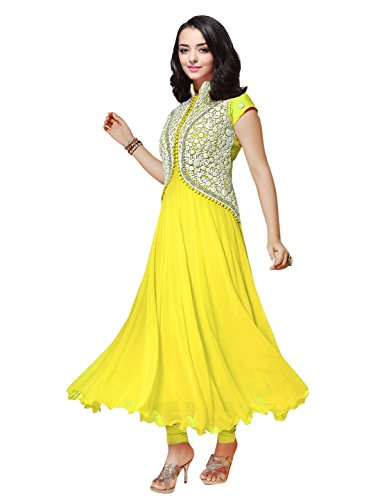 Clickedia Women's Georgette Women and Girls Koti style Anarkali Suit Yellow Free Size  available at amazon for Rs.329