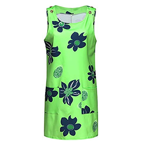 BURFLY Mode Damen Kleid, Sommer Frauen Große Größe Rundhalsausschnitt Ärmelloses Drucken Kleider Beiläufige Einfache Tasche Minikleider -