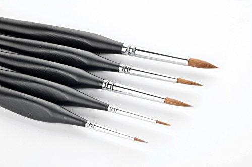 5 Stück Best Professional Siberian Kolinsky Sable Detail Lack Pinsel, Hochwertige Miniatur Pinsel halten einen schönen Punkt und Frühling, für Aquarell, Öl, Acryl, Nail Art & Models