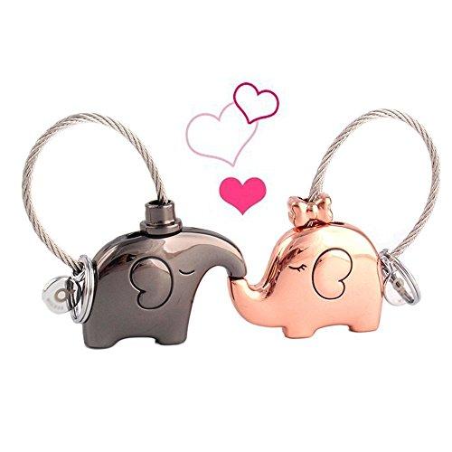 TILY 1 par de llaveros con diseño de elefantes besando llaveros llaveros...