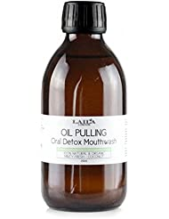 Laila London Oil Pull Oral Detox Large 250ml - Teeth Whitening - 25 Day - Coconut - Seasame - Organic Mint Ayurvedic Blend Dental Care Fresh Breath 100% Natural Mouth Wash Oil Pulling