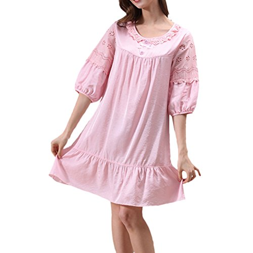 Zhhlaixing Summer Womens Round Neck Nightwear Sleep Skirt Comfortable Pajamas M5652 pink