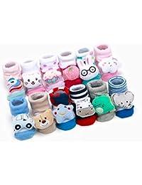 JACK N JILL® Cartoon face Fancy Booties Socks for Baby Girl (2 Pair Assorted) (0-6 Months Multicolor)