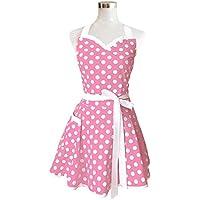 Lovely corazones rosa Retro salón de cocina delantales de mujer niña algodón diseño de lunares cocinar delantal. Vintage delantal vestido de Navidad