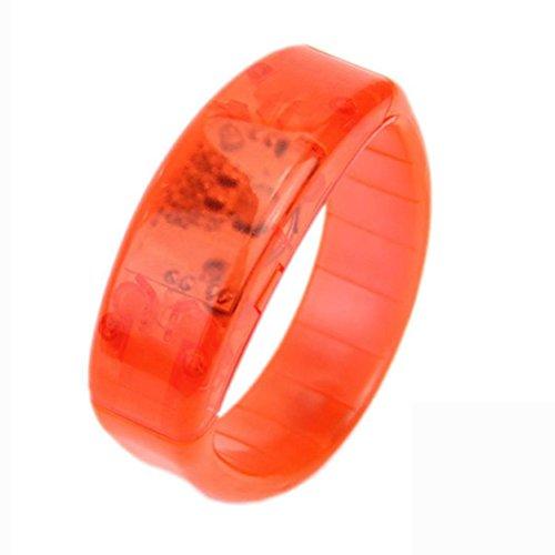 Preisvergleich Produktbild Sansee LED leuchtende Sound Kontrolle Armband großen Mode Sound kontrolliert Voice LED leuchten Armband aktiviert Glow Flash Bangle (orange)