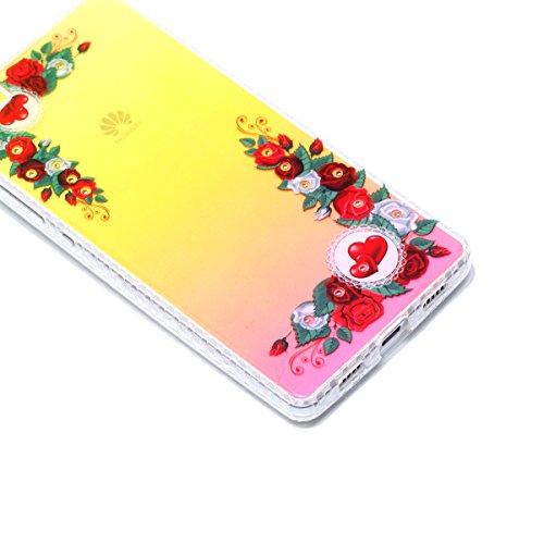 Coque Huawei P8 Lite Glitter, Huawei P8 Lite Coque Brillante, SainCat Ultra Slim TPU Silicone Case pour Huawei P8 Lite, Glitter Bling Diamante Strass Anti-Scratch Soft Gel 3D Housse Transparent Silico Red Rose