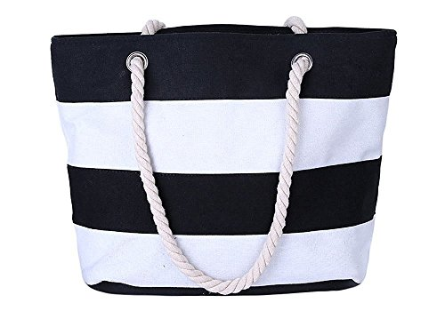 Minetom Donne Grande Spiaggia Borsa Shopper Handbag Classico Striscia Borsa Nero Bianco