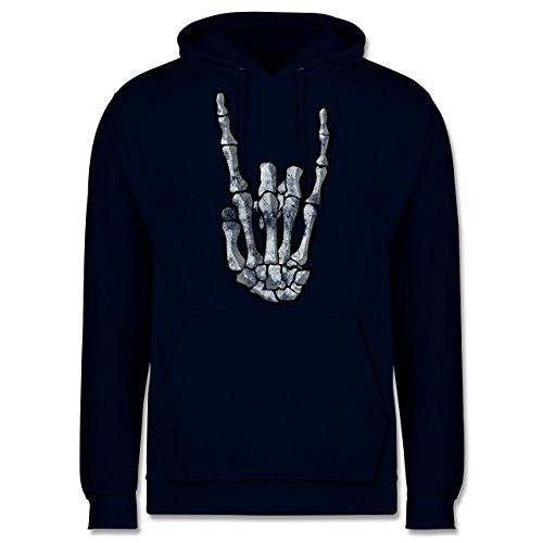 Metal - Metal Horns Skelett Hand - Herren Hoodie Dunkelblau
