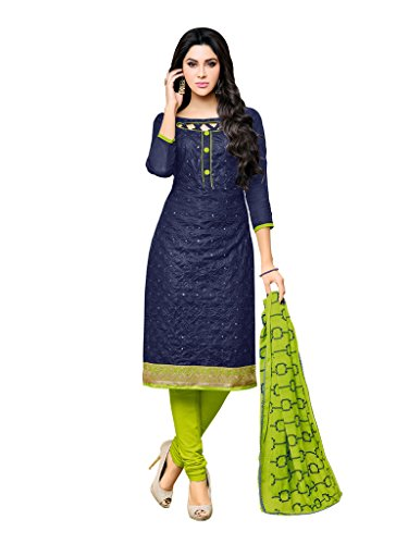Applecreation Women's Cotton Salwar Suit (Dress Material Nyra1010_Blue_Free Size, Semi-Stitched )