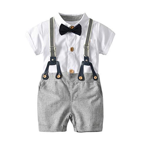 Elecenty 2pcs Stück Bekleidungssets Junge,Outfit Set Babyanzug Set Gentleman Krawatte T-Shirt Blusen +Bib Pants Hose Outfit Tägliche Jungenkleidung (70, Weiß1) - Bib Detail Bluse