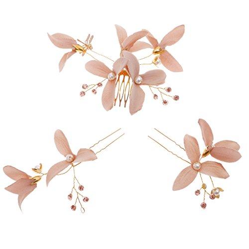 Fantaisie Peigne Epingle à Cheveux en Alliage Doré Orné de Tissu Fleur Accessoire pour Mariée - Café