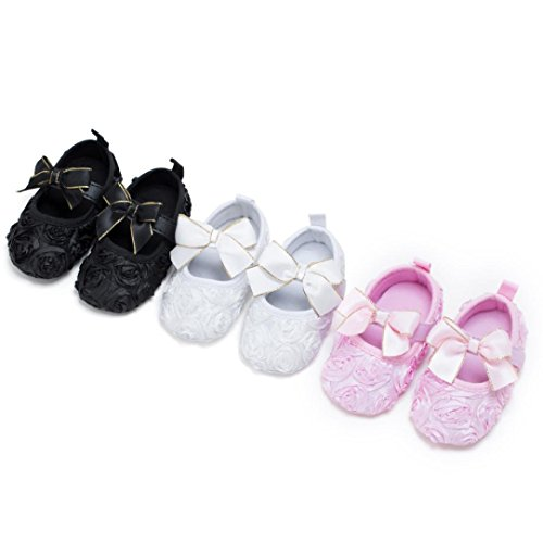 Rawdah Pattini antisdrucciolevoli inferiori del bambino appena nato dei pattini della bambina di Jane delle grandi scarpe da fiori Rosa