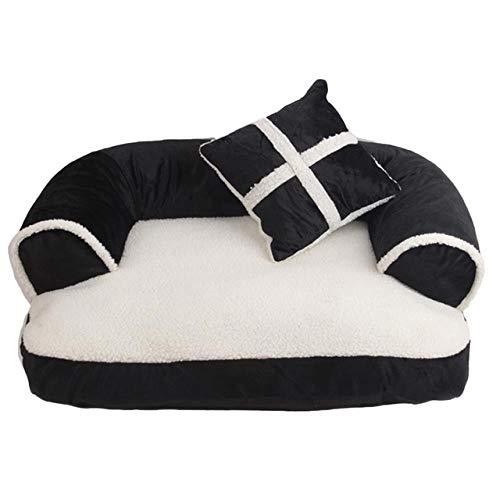 FSEFGSWFG 1 stückWarm Chihuahua Kleine Hundebett Haustier Hund Schlafsofa Mit Kissen Abnehmbare Waschen Weiche Katze Bett, Schwarz, 60x40 cm