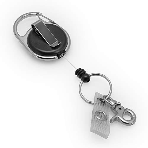 Porte-clés yoyo, Porte-badge yoyo avec ressort renforcé et cordon résistant de BE-HOLD avec clip de ceinture, anneau porte-clés et languette en textile renforcé