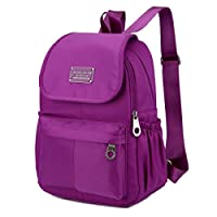 HGDR Women Shoulder Bag Waterproof Nylon Backpack Outdoor Camping Picnic Sports University Backpack Schoolbag,24*12*33cm-Lightpurple