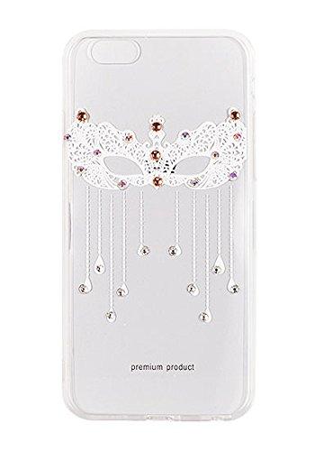 """Hülle ART VENNUS Muster Diamonds Für Apple iPhone 7 Plus 5.5"""" iPhone 7 5.5"""" Hülle Etui Flip Cover Silikon Tasche Back Case Glänzed (Halskette mit Krone weiß) Maske für Augen weiß"""