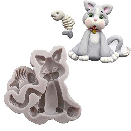 CFPACR K¨¹Che Silikon-Form DIY niedliche Katze mit Fisch Fondant SchokoladenKuchen Back Werkzeug-grau wei? (Niedliche Halloween Namen Für Katzen)