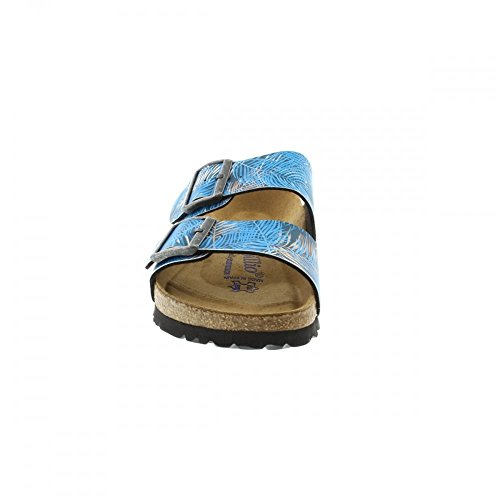 Birkenstock Arizona Birko-Flor Soft Ladies Sandal Tropical Leaf Blue