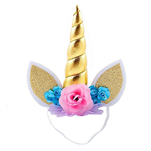 Haichen 1pc unicorn flowers hairbands per bambini, ideale per il compleanno di natale cosplay party