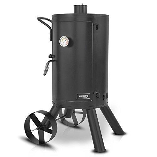 HECHT Smoker-Grill Holzkohle 0001 Smokehouse Räucherofen (inkl. 3 Roste + Hakenring)