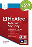 McAfee Internet Security 2019 | 1 Dispositivo| Abbonamento di 1 anno | PC/Mac/Smartphone/Tablet