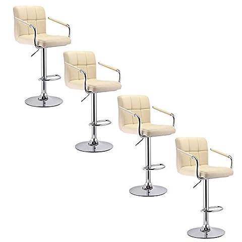 Lot de 4 Tabourets de bar Chaise de Bar simili cuir PU chrome Hauteur réglable grande base Pivotant et réglable en Hauteur 62,5 cm - 82,5 cm Beige