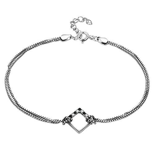szkmt Zwei Schicht Schlangenkette Sterling Silber 925Kette Armband, verstellbar Charme mit AAA decoration-18+ 3cm Verlängerung, Zirkonia quadratisch