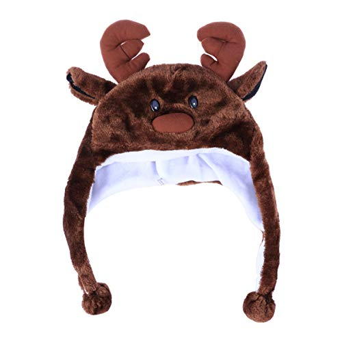 BESTOYARD Tier Kostüm Hut Plüsch Winter Ski Flieger Stil Hut Cartoon Earflap Cap Hood für Kinder Erwachsene (Deer)