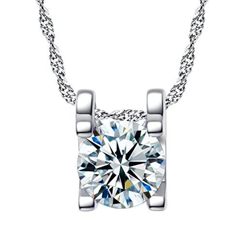 YAZILIND Plateado joyeršªa Collar Diamante Cz cš²bicos Circonia Collar para Mujer Color...