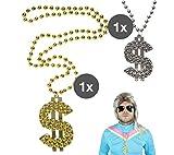 TK Gruppe Timo Klingler Goldkette Dollar Dollarkette Gangster Scheich Zuhälter Silber & Gold Gangsterkette Kette Dollar Rapper 80er 90er Jahre Kostüm Karneval Fasching Accessoires Hip Hop Outfit