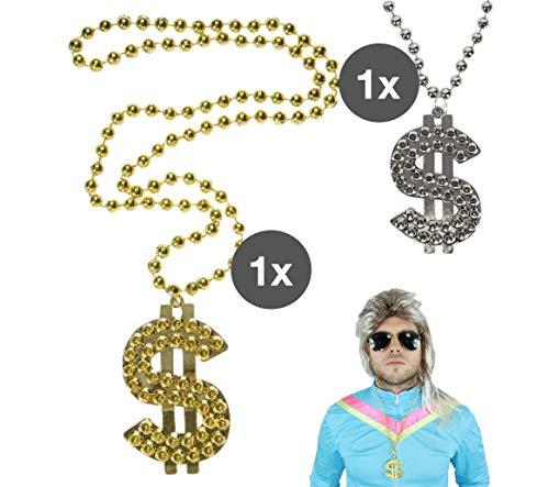 TK Gruppe Timo Klingler Goldkette Dollar Silber & Gold Gangsterkette Kette Dollar Rapper 80er 90er Jahre Kostüm Karneval Fasching Accessoires Hip Hop Outfit