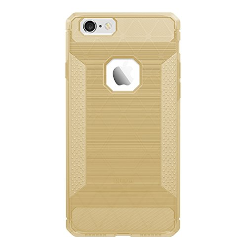 MXNET Fall für iPhone 6 u. 6s gebürsteter Kohlenstoff-Faser-Beschaffenheit Shockproof TPU schützender Abdeckungs-Fall ,Iphone 6/6s Case ( Color : Gold ) Gold