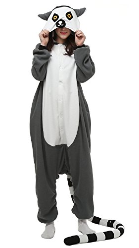 (Tier Pyjamas Kostüm Jumpsuit Fasching Onesie Damen Herren Karneval Cosplay Nachtwäsche Ring Schwanz Lemur)