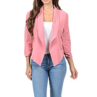 Auliné Collection Womens Casual Lightweight 3/4 Sleeve Fitted Open Blazer -  Pink -