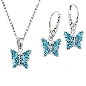 Blau Schmetterling Ohrringe Anhänger Kette 925 Silber Set