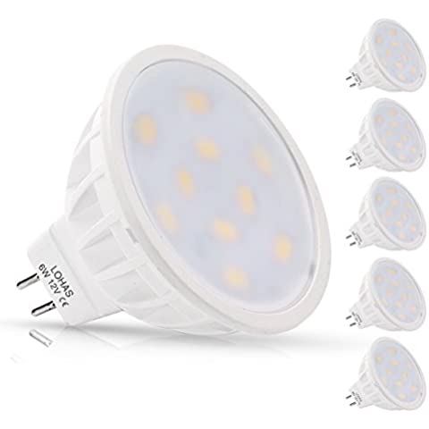 LOHAS® Confezione da 5 MR16GU5.3 LED Lampadine 6Watt, Equivalenti a