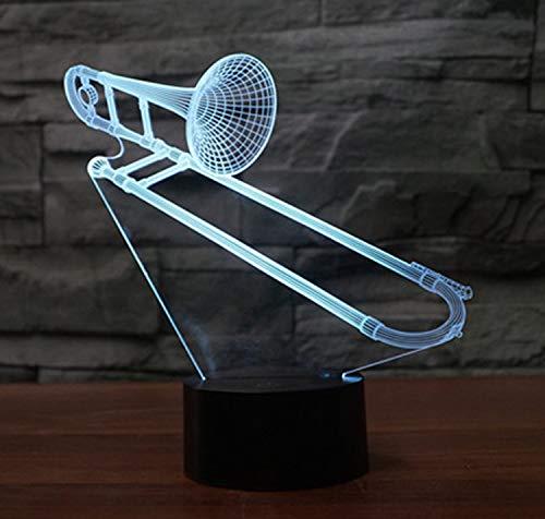 3D Lampe LED Nachtlicht,SUAVER 3D Optical Illusion Lampe Touch Tischlampe 7 Farbwechsel Dekoration Lampe USB Powered Stimmungslicht Skulptur Licht Geburtstags Weihnachts Geschenk (Posaune)